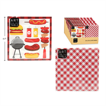 Image de RED GINGHAM/BBQ LUNCHEON NAPKINS