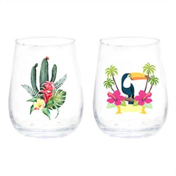 Image de TABLEWARE - LUAU THEME STEMLESS WINE GLASS -  2 STYLES