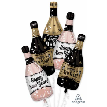"""Picture of 18"""" - 34"""" HAPPY NEW YEAR BUBBLY BOTTLES MYLAR BOUQUET"""
