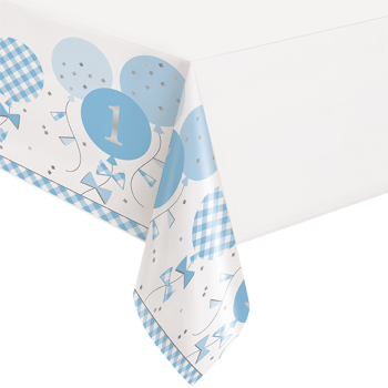 Image de TABLEWARE - 1st BIRTHDAY BLUE GINGHAM - TABLE COVER