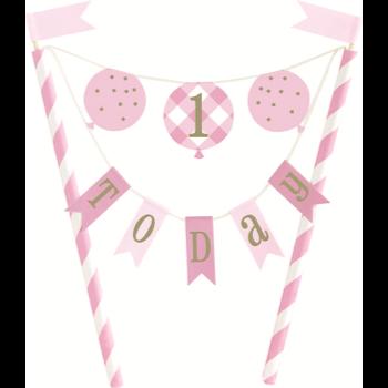 Image de DECOR - 1st BIRTHDAY PINK GINGHAM - CAKE TOPPER