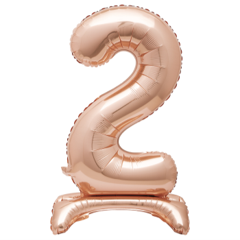 """Image de 30"""" STANDING NUMBER BALLOON - 2 ROSE GOLD ( AIR FILLED )"""