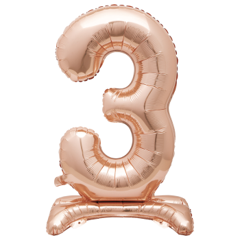 """Image de 30"""" STANDING NUMBER BALLOON - 3 ROSE GOLD ( AIR FILLED )"""
