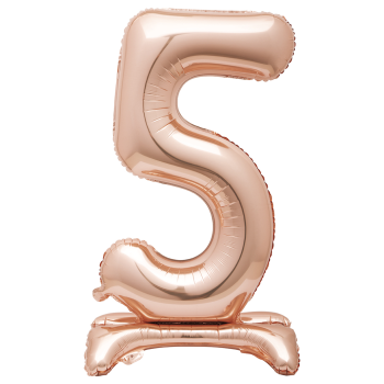"""Image de 30"""" STANDING NUMBER BALLOON - 5 ROSE GOLD ( AIR FILLED )"""