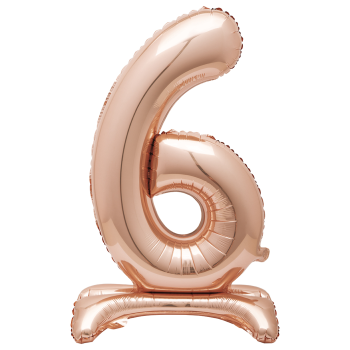 """Image de 30"""" STANDING NUMBER BALLOON - 6 ROSE GOLD ( AIR FILLED )"""