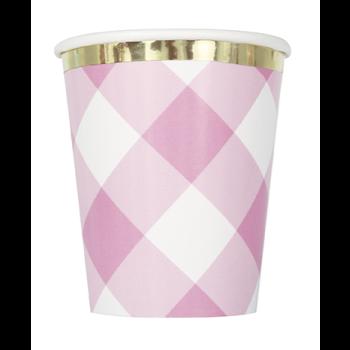 Image de TABLEWARE - 1st BIRTHDAY PINK GINGHAM - 9oz CUPS