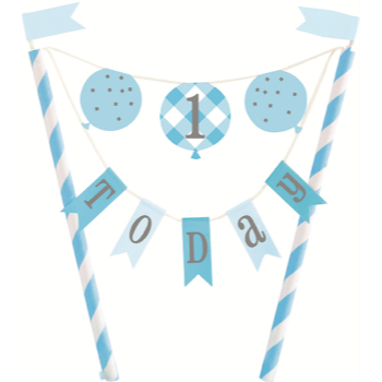 Image de DECOR - 1st BIRTHDAY BLUE GINGHAM - CAKE TOPPER