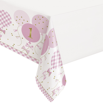 Image de TABLEWARE - 1st BIRTHDAY PINK GINGHAM - TABLE COVER