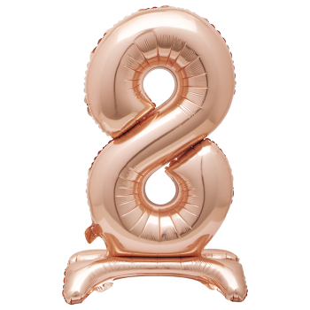 """Image de 30"""" STANDING NUMBER BALLOON - 8 ROSE GOLD ( AIR FILLED )"""