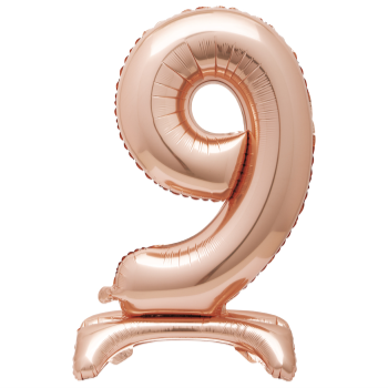 """Image de 30"""" STANDING NUMBER BALLOON - 9 ROSE GOLD ( AIR FILLED )"""