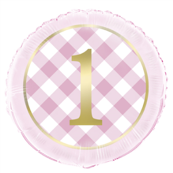 """Picture of 18"""" FOIL - 1st BIRTHDAY PINK GINGHAM"""