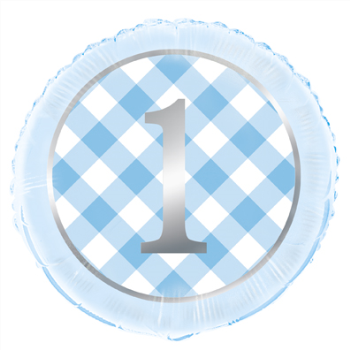 """Picture of 18"""" FOIL - 1st BIRTHDAY BLUE GINGHAM"""