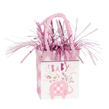 Picture of BABY PINK FLORAL ELEPHANT BALLOON WEIGHT