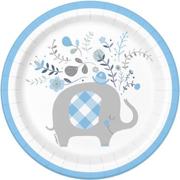"""Image de BLUE FLORAL ELEPHANT 7"""" PLATES"""