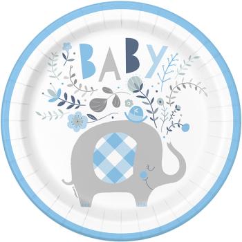 """Image de BLUE FLORAL ELEPHANT 9"""" PLATES"""