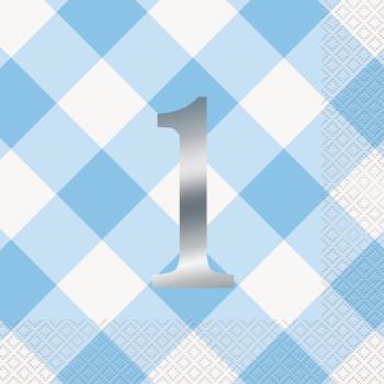 Image de TABLEWARE - 1st BIRTHDAY BLUE GINGHAM - LUNCHEON NAPKIN