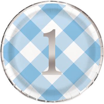 "Image de TABLEWARE - 1st BIRTHDAY BLUE GINGHAM - 9"" PLATES"