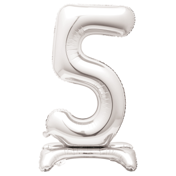 """Image de 30"""" STANDING NUMBER BALLOON - 5 SILVER ( AIR FILLED )"""
