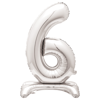 """Image de 30"""" STANDING NUMBER BALLOON - 6 SILVER ( AIR FILLED )"""