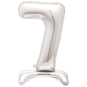 """Image de 30"""" STANDING NUMBER BALLOON - 7 SILVER ( AIR FILLED )"""