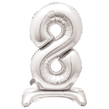 """Image de 30"""" STANDING NUMBER BALLOON - 8 SILVER ( AIR FILLED )"""
