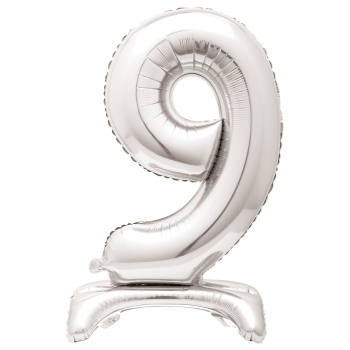 """Image de 30"""" STANDING NUMBER BALLOON - 9 SILVER ( AIR FILLED )"""
