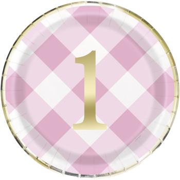 "Image de TABLEWARE - 1st BIRTHDAY PINK GINGHAM - 9"" PLATES"