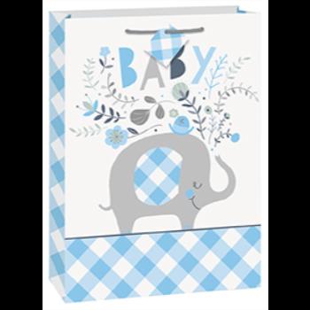 Image de BLUE FLORAL ELEPHANT GIFT BAG - JUMBO