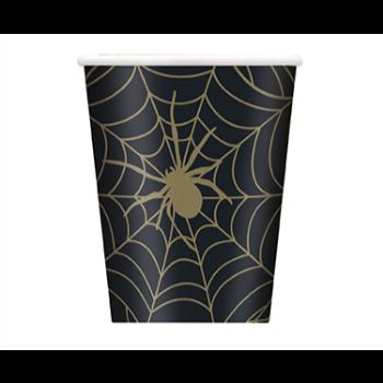 Image de TABLEWARE - SPIDER WEB BLACK AND GOLD 9oz CUPS