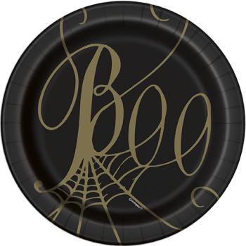 "Image de TABLEWARE - SPIDER WEB BLACK AND GOLD METALLIC 7"" PLATES"