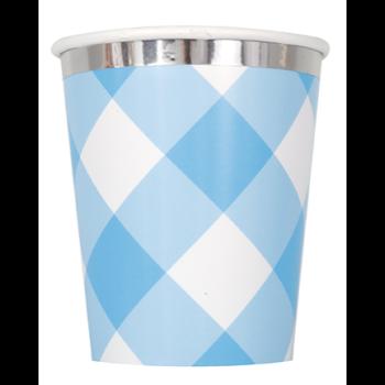 Image de TABLEWARE - 1st BIRTHDAY BLUE GINGHAM - 9oz CUPS