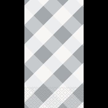 Image de SILVER GINGHAM GUEST TOWELS