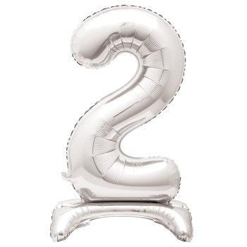 """Image de 30"""" STANDING NUMBER BALLOON - 2 SILVER ( AIR FILLED )"""