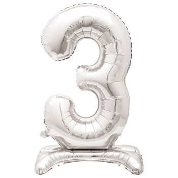 """Image de 30"""" STANDING NUMBER BALLOON - 3 SILVER ( AIR FILLED )"""