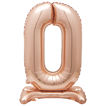 """Image de 30"""" STANDING NUMBER BALLOON - 0 ROSE GOLD ( AIR FILLED )"""