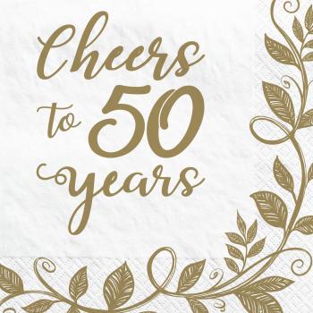 Image de TABLEWARE - HAPPY 50th ANNIVERSARY BEVERAGE NAPKINS