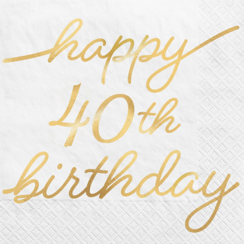 Image de 40th GOLDEN AGE BIRTHDAY - BEVERAGE NAPKINS