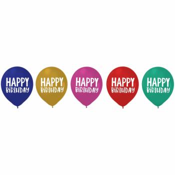 "Image de DECOR - 12"" LATEX BALLOONS - HAPPY BIRTHDAY HAPPY DOTS"