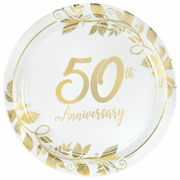 "Image de TABLEWARE - HAPPY 50th ANNIVERSARY 10"" METALLIC PLATES"