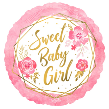 """Picture of 18"""" FOIL - SWEET BABY GIRL FLORAL"""