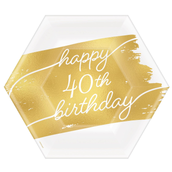"""Picture of 40th GOLDEN AGE BIRTHDAY - 7""""  HEXAGON PLATES"""