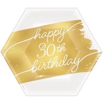 """Picture of 30th  GOLDEN AGE BIRTHDAY - 7""""  HEXAGON PLATES"""