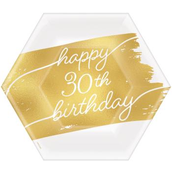 """Image de 30th  GOLDEN AGE BIRTHDAY - 7""""  HEXAGON PLATES"""