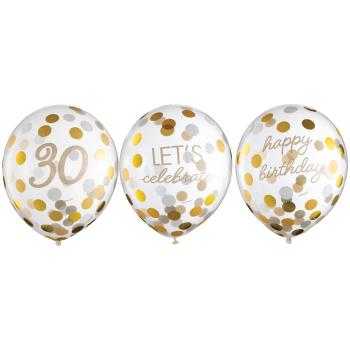 Image de 30th LATEX CONFETTI BALLOON - GOLDEN AGE BIRTHDAY