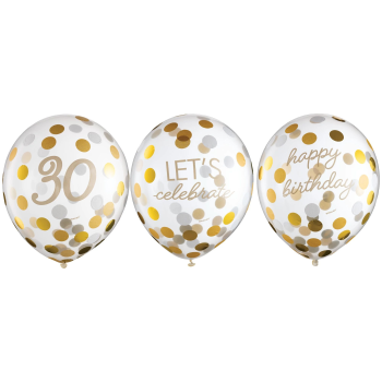 Picture of 30th LATEX CONFETTI BALLOON - GOLDEN AGE BIRTHDAY