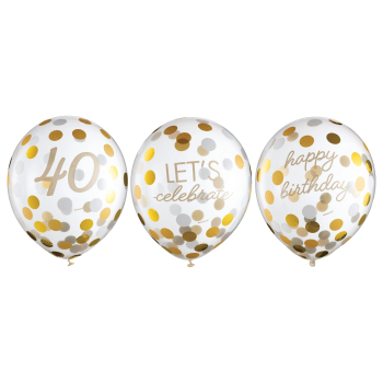 Image de 40th LATEX CONFETTI BALLOON - GOLDEN AGE BIRTHDAY