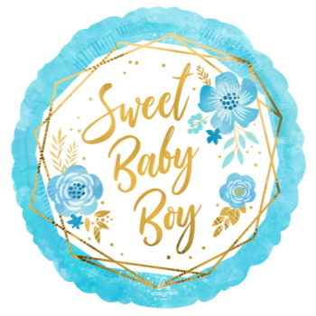 """Picture of 18"""" FOIL - SWEET BABY BOY FLORAL"""