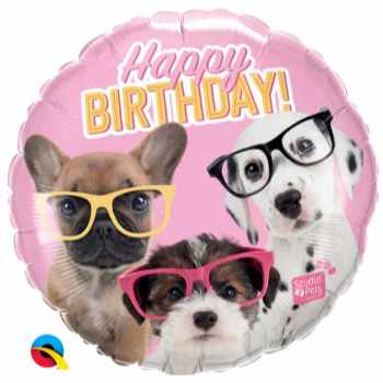 """Image de 18"""" FOIL - BIRTHDAY PUPPIES WITH GLASSES"""