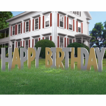 Image de DECOR - HAPPY BIRTHDAY YARD SIGN - GOLD AND SILVER