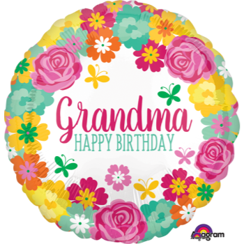 """Image de 18"""" FOIL - HAPPY BIRTHDAY GRANDMA FLORAL"""